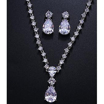 Fashion Simple Cubic Zirconia Crystal Women Earrings Necklace Set