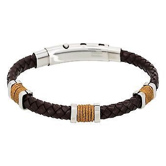 Pulseira de aço masculino, couro marrom e corda de camelo - BROWN EYES-apos;