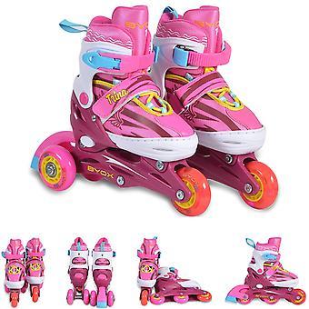 Inliner Enfants Trina 3 en 1, taille S 30-33 réglable, roues PU, roulement 608ZB