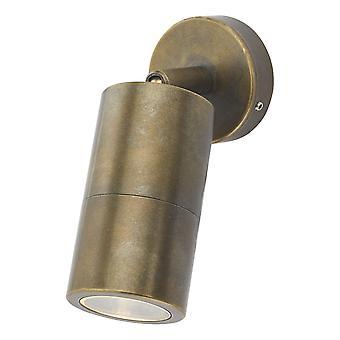 DAR ORTEGA Met en lumière Wall Light Antique Brass IP65, 1x GU10