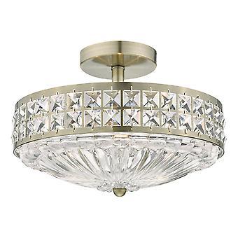 DAR OLONA 3L luz semi flush techo luz luz antigua latón cristal cuentas y difusor de vidrio