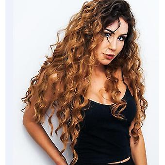 נשים פאה אופנה ארוך מתולתל שיער גדול גל בינוני שיפוע כיסוי שיער w376