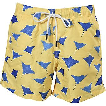Apres Swimming Rays Swim Shorts, Sun Yellow W/navy