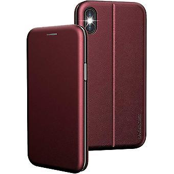 FengChun iPhone X Hülle Rot, iPhone XS Hülle [Deluxe Leder Flip-Case Klapphülle] Handyhülle iPhone X