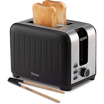 FengChun - Toaster mit Breitem Schlitz 3 in 1 - Schwarz Matt Edelstahl, Retro-Toaster - Gratis