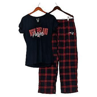 NFL Dames Pyjama Set Patriots Flanel Broek & T-Shirt Blauw A370730