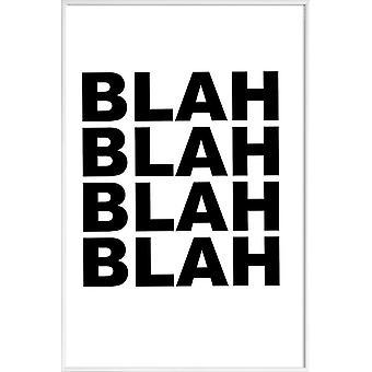 Stampa JUNIQE - Blah Blah Blah - Poster tipografia & simboli in bianco e nero