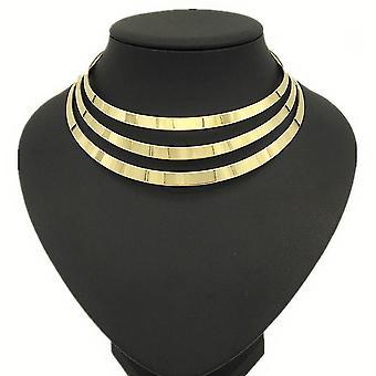 Női nyaklánc eltúlzott arany fém nyakpánt gallér esküvőre