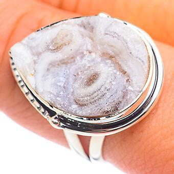 Desert Druzy Ring Koko 9 (925 Sterling Hopea) - Käsintehty Boho Vintage Korut RING68468