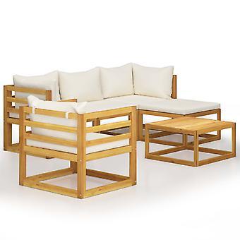 vidaXL 6-tlg. Kit de jardin-salon avec crème bois massif acacia
