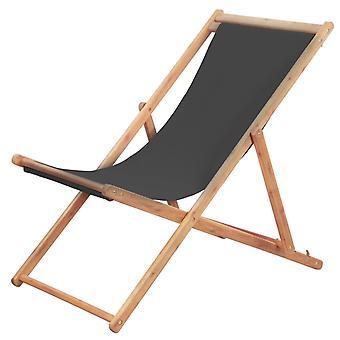 tessuto da sedia da spiaggia pieghevole vidaXL e telaio in legno grigio