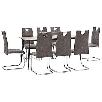 vidaXL 9 pcs. Dining group Braun faux leather