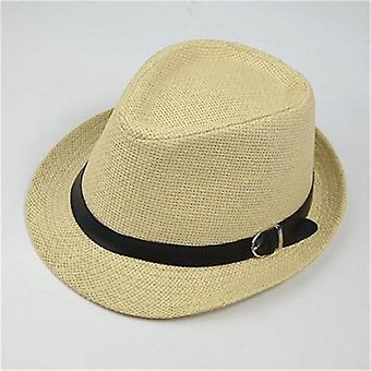 Retro Stroh Fedoras Top Jazz Plaid Hut - Frühling Sommer Bowler Cap (Beige)