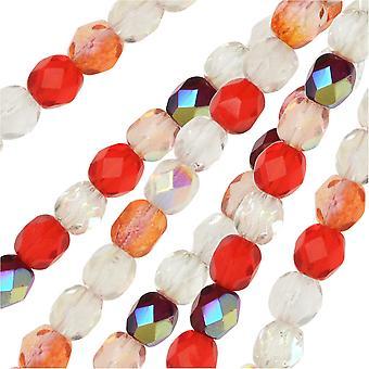 التشيكية النار مصقول الخرز الزجاج، جولة الأوجه 4mm، 100 قطعة، الفراولة حقول ميكس