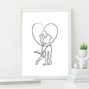 Couple's Embrace Line Art Print   Perfect Gift for Couples   A4 with White Frame