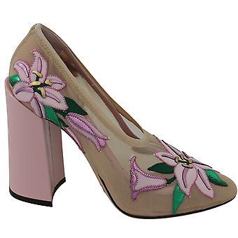 Pink nude floral silk heels pumps shoes