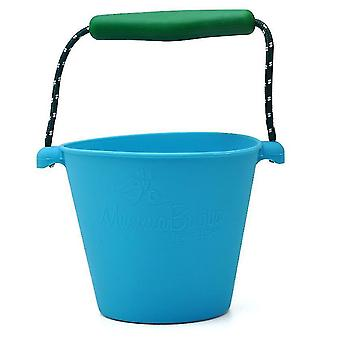 Portable Silicone Beach Sand Buckets Toy For Kids Camping Fishing Storage(Blue)