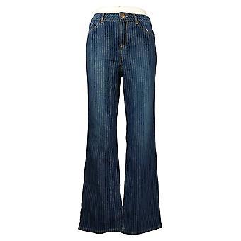 LOGO by Lori Goldstein Women's Jeans Reg Striped Flared Blue A375499