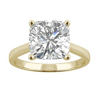 14K Yellow Gold Moissanite by Charles & Colvard 9mm Cushion Solitaire Ring, 3.3ct DEW