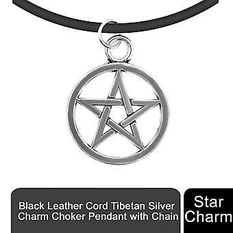 Negru din piele Cord tibetane Argint Charm Choker Pandantiv cu lanț, Star Charm