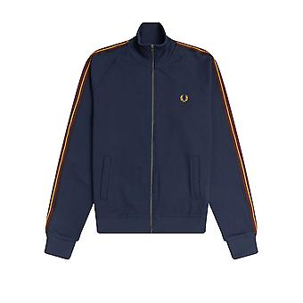 Fred Perry Men's Striped Tape Track Cardigan Regular Fit Blue