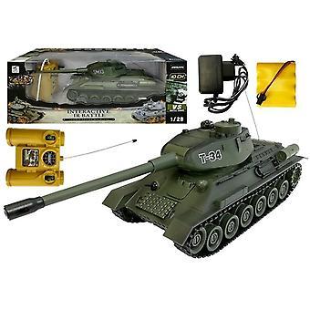 Rádiem řízený armádní tank - T-34 - Zelený - s infračerveným zářením - 26 cm