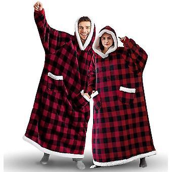 Oversized Wearable Hooded Long Winter Warm Wrap With Soft Sherpa Fleece(Plaid)