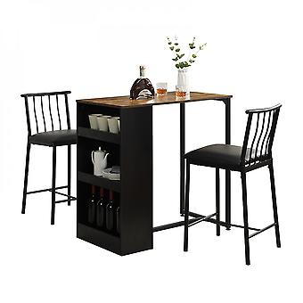 3-piece Bar Table And Stool Set With 3 Storage Shelves Space