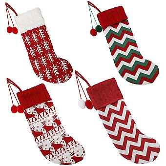 16-inch Large Wool Hand-knitted Christmas Stockings Pack Of 4, Striped Reindeer Christmas Decorations And Home Holiday Decorations (red And White)