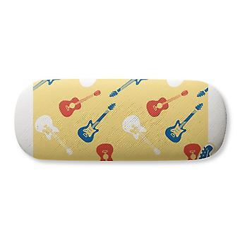 Motif de musique de guitare jaune Illustrer lunettes Case Lunettes Hard Shell Rangement Lunettes Boîte à lunettes