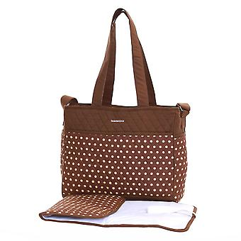 Slimbridge Bremen Baby Tote Bag with Changing Mat, Mocha Dots