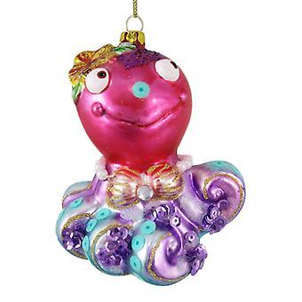きれいなピンクと紫の沿岸タコのガラスのクリスマス ツリーの飾りを休日