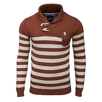 Soul Star Men's Hayrick Shawl Neck Striped Knitted Jumper Top