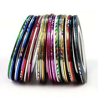 TRIXES 30 指甲艺术粘性条纹卷轴各种颜色为自然和人造指甲