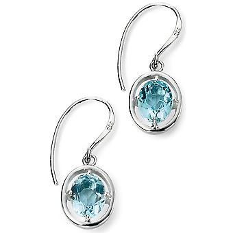 Blu di 925 orecchino d'argento placcato rodio cuore e Blue Topaz