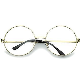 Oversize metallramme slank tempel klart linsen runde briller 60mm