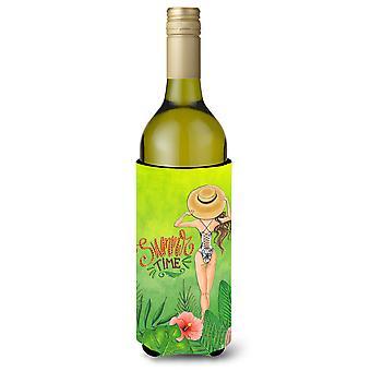 Sommerzeit-Lady im Badeanzug Weinflasche Beverge Isolator Hugger