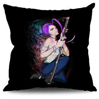 Anime Katana Her Linen Cushion 30cm x 30cm | Wellcoda