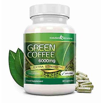 Green Coffee Bean Pure 6000mg met 20% CGA - 90 Capsules (1 maand) - Fat Burner en Antioxidant - evolutie afslanken