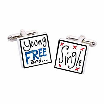 Young Free & Single Cufflinks by Sonia Spencer, in Presentation Gift Box. Hand painted