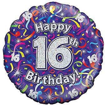 Oaktree 18 Inch Happy 16th Birthday Streamers Holographic Balloon
