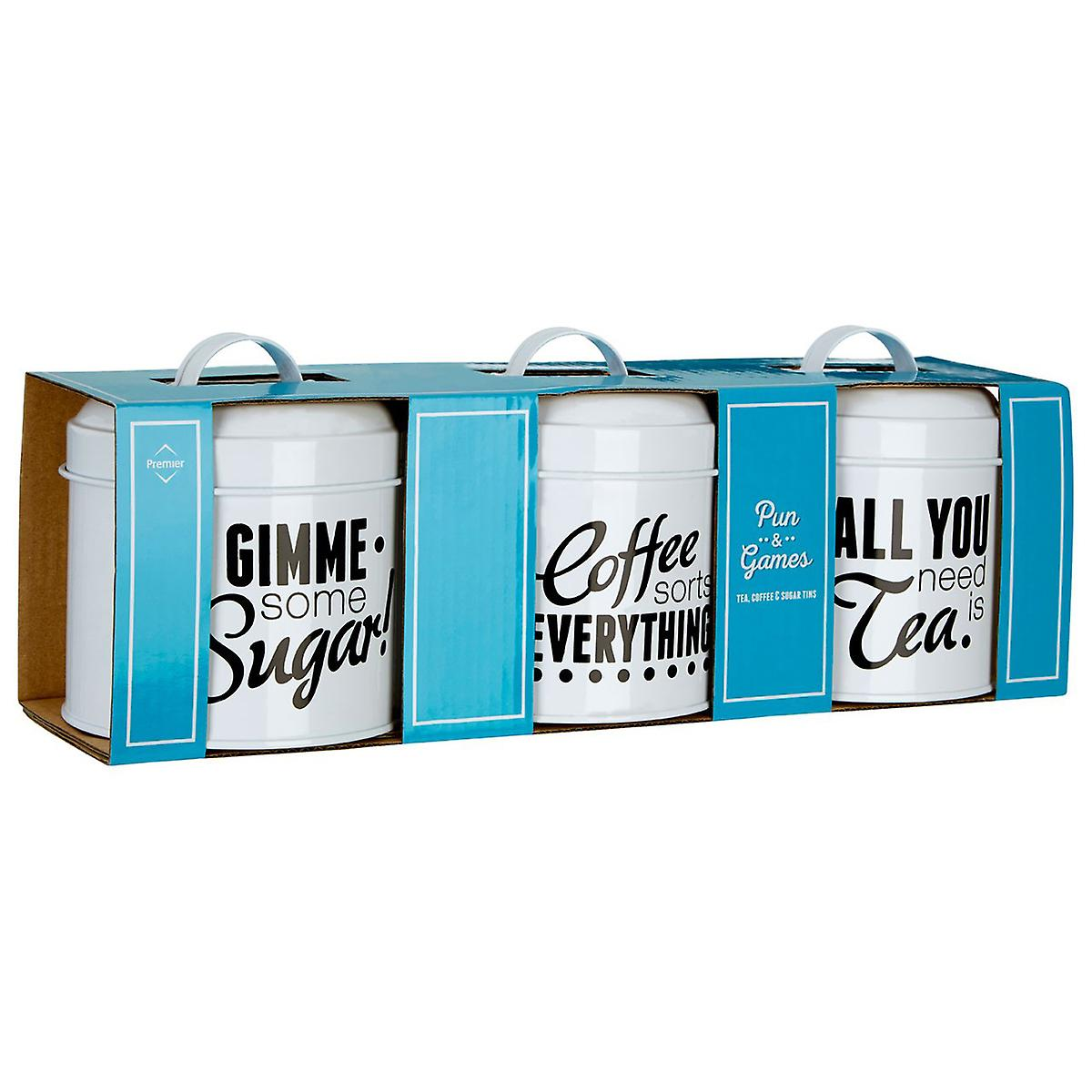 Premier Housewares Pun and Games Set of 3 Tea Coffee Sugar Canisters