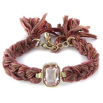 Ettika - Yellow Gold Plated Crystal Bracelet and Cotton Ribbons Maroon 2374