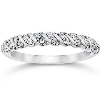 1/3CT Diamond Braided Wedding Ring 10K White Gold