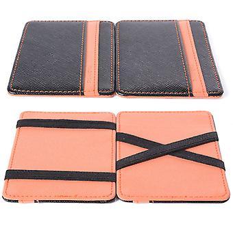 Men's And Women's Gift Magic Credit ID Card Elastic Money Clip Slim Cash Wallet Orange
