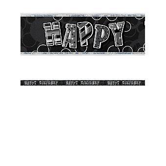 Bannière anniversaire Glitz noir & argent prisme joyeux anniversaire