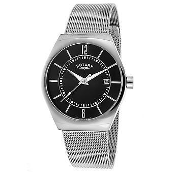 Rotary Mens Stainless Steel Mesh Bracelet Black Dial GB00033/19 Watch
