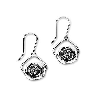 June Sterling Silver Traditional Birth Flower Shaped Design Pair of Earrings