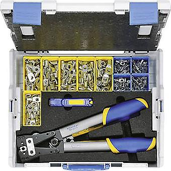 Klauken LBOXX65B Crimper asetettu 223-osainen nimillä terminaalit, Spade terminaalit 6 jopa 50 mm² sis. leikkuri, Kaapeli sis. lanka leikkuri, Incl. crimp johtosarjan lug ja