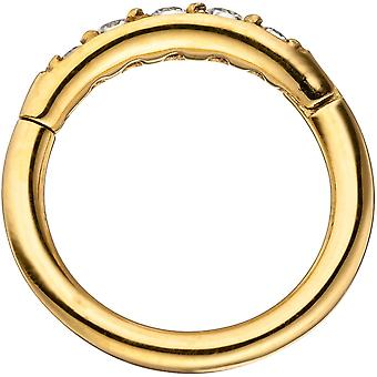 Segment ring stainless steel gold color coated with Crystal element hinge